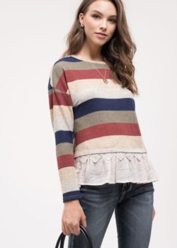 Striped Knit Top in Navy