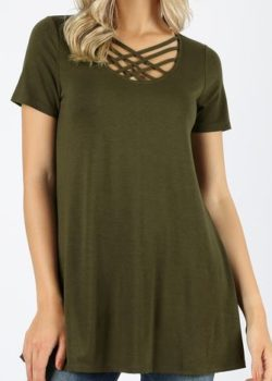 Olive Short Sleeve Triple Lattice Top