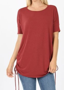 Brick Round Neck Side Tie Top