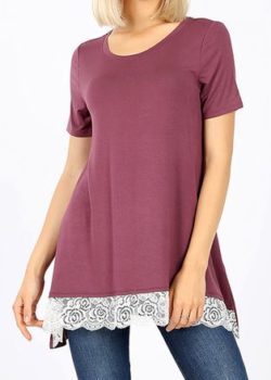 Eggplant Colored Top with Grace and Lace