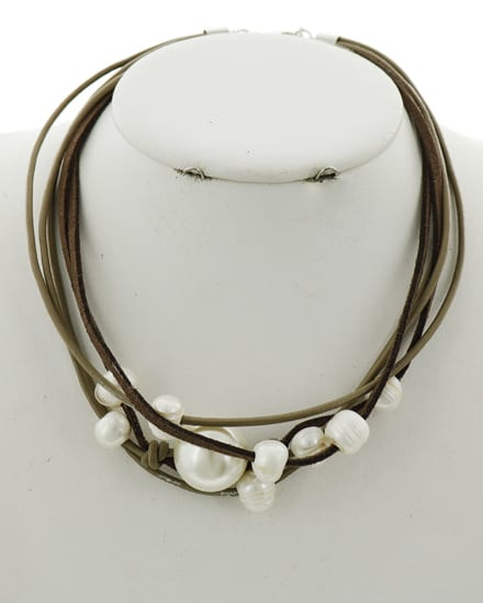 Brown Suede and Pearl Necklace