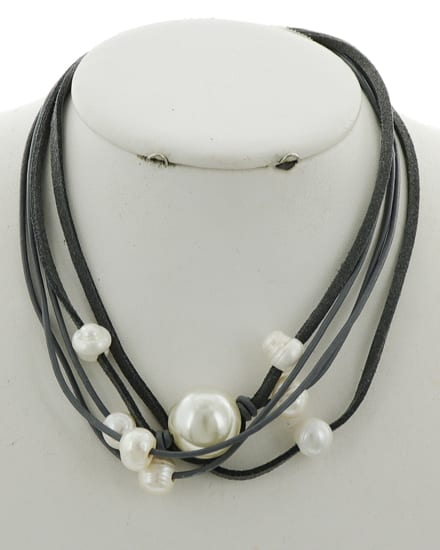 Grey Suede and Pearl Necklace