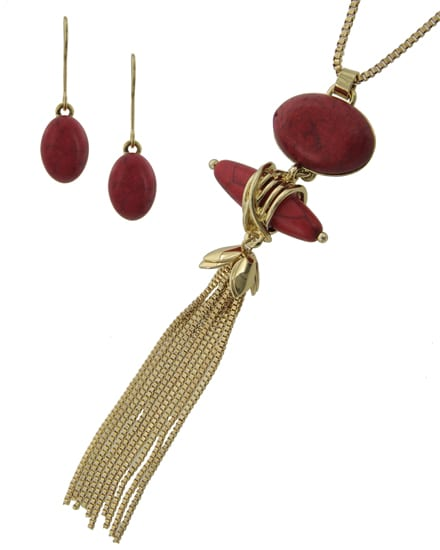 Red Necklace and Earring Set