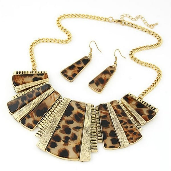 BROWN LEOPARD PRINT GEOMETRIC NECKLACE AND EARRING SET