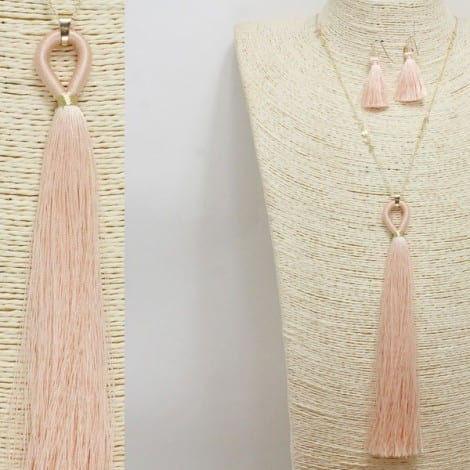 Peach Tassel Pendant Long Necklace