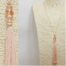 Rose Gold/ Peach Tassel Pendant Long Necklace