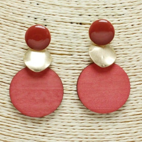 Coral Wooden and Gold Earrings