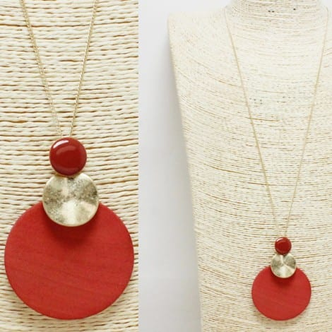 Coral, round wood long pendant necklace