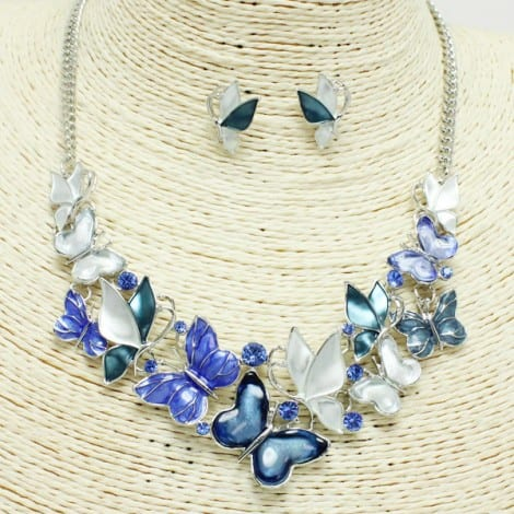 Blue, butterfly floral necklace and Earring Set