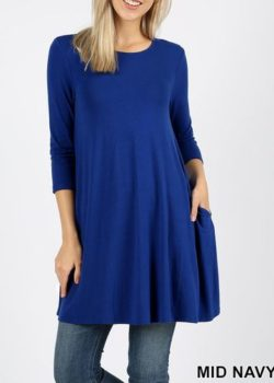 MID-NAVY 3/4 SLEEVE SWING TUNIC WITH SIDE POCKETS