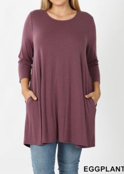 CURVY EGGPLANT TUNIC DRESS