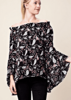 Black Paisley Off The Shoulder Top