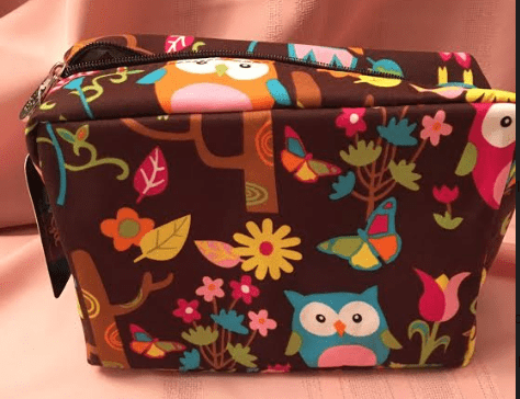 NGIL LARGE COSMETIC TRAVEL POUCH-CHEVRON OWL