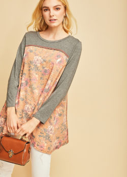 Camel Burnout Floral Print Top