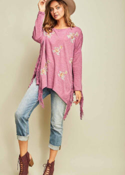 PLUM TOP WITH FLORAL EMBROIDERY AND FRINGE- IT'S IN!