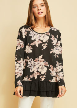 FLORAL PRINT RIBBED TOP